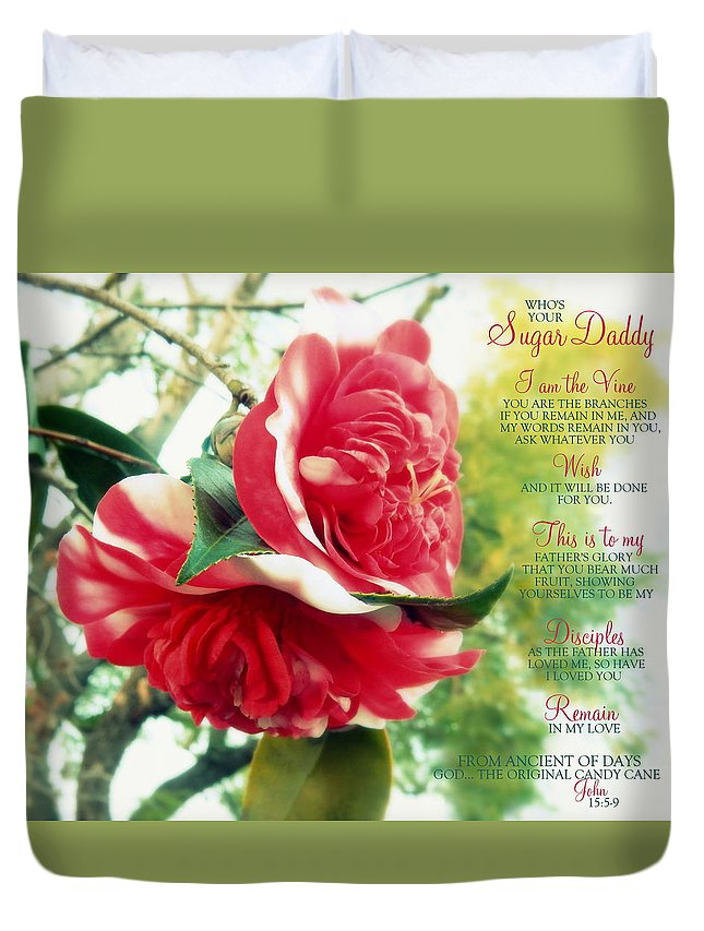 Floral Duvet Cover featuring the photograph United W/ The Vine Sugar Daddy by Karen Jbon Lee