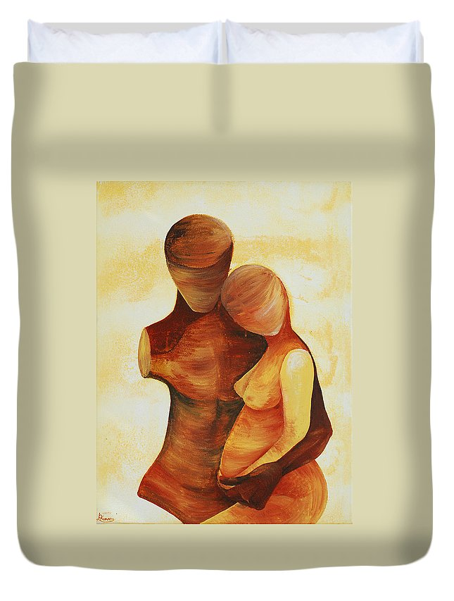 Unity Duvet Cover featuring the painting Unity by Catt Kyriacou