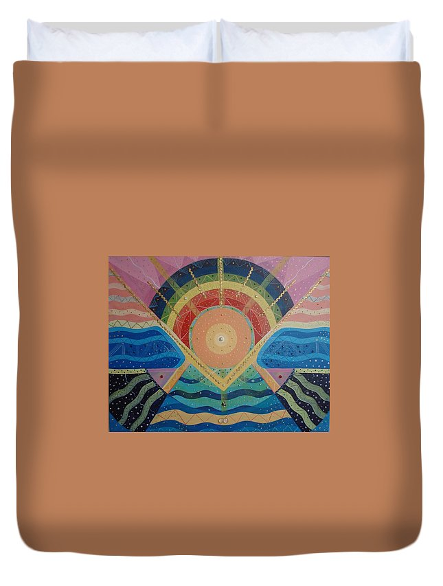 Unity Duvet Cover featuring the mixed media Unity I Oneness by Helena Tiainen