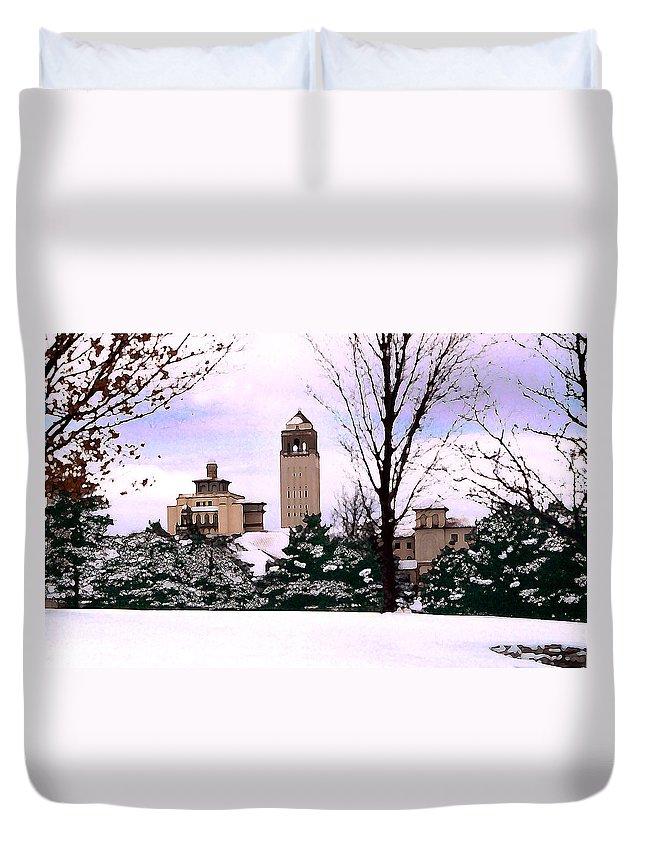 Landscape Duvet Cover featuring the photograph Unity Village by Steve Karol