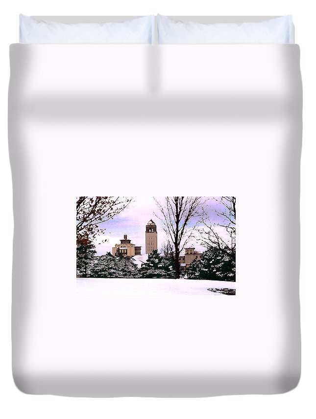 Landscape Duvet Cover featuring the photograph Unity Village by Steve Karol