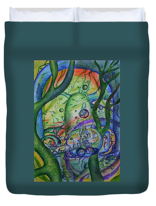 Cosmos Duvet Cover featuring the painting Universal Forest. by Marat Ivanov