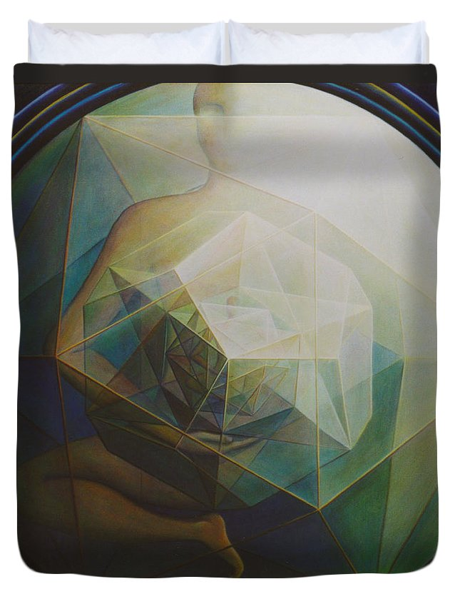 Spiritual Paintings Duvet Cover featuring the painting Universal Map by Nad Wolinska
