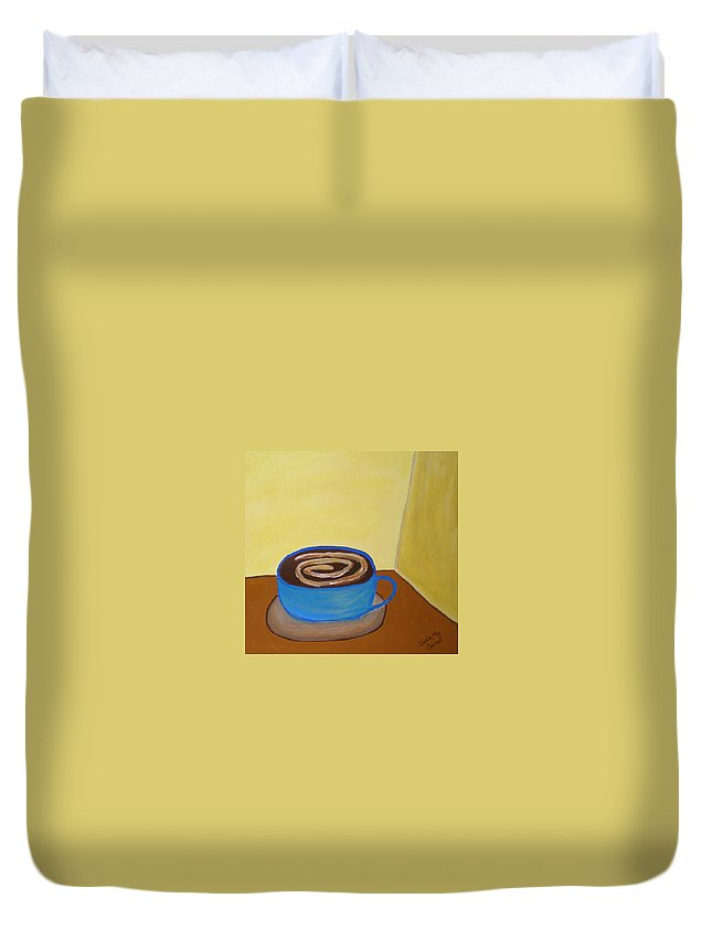 Universal Mocha Duvet Cover featuring the painting Universal Mocha by Beth Cornell