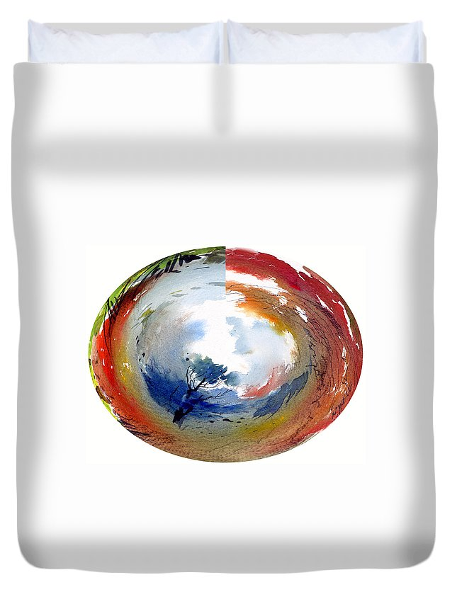 Landscape Water Color Watercolor Digital Mixed Media Duvet Cover featuring the painting Universe by Anil Nene