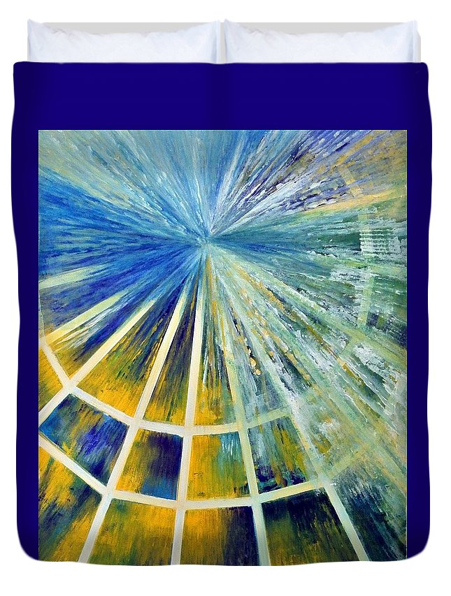 Abstract Duvet Cover featuring the painting Universe by Upasana Kedia