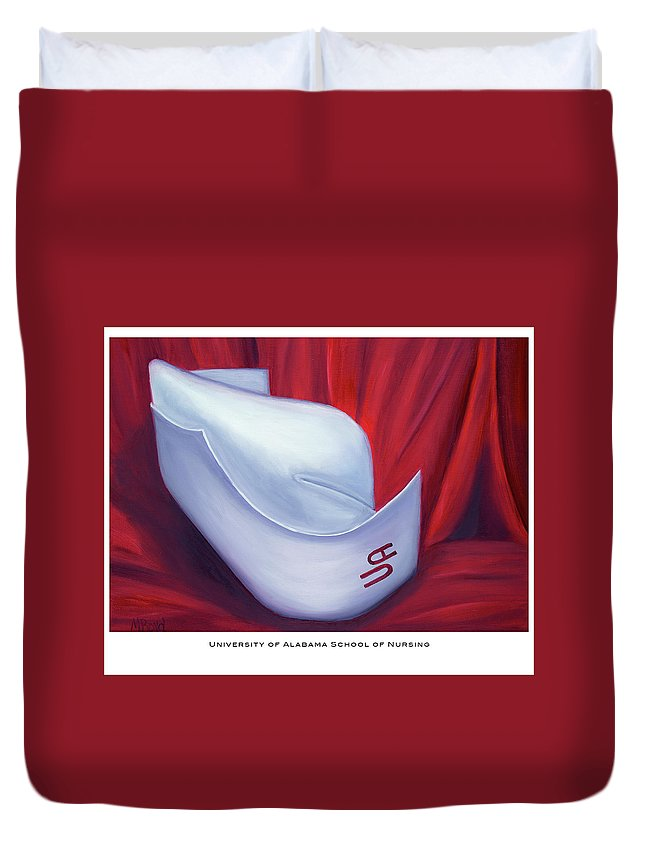 Nurse Duvet Cover featuring the painting University Of Alabama School Of Nursing by Marlyn Boyd