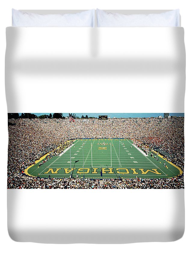 Photography Duvet Cover featuring the photograph University Of Michigan Stadium, Ann by Panoramic Images