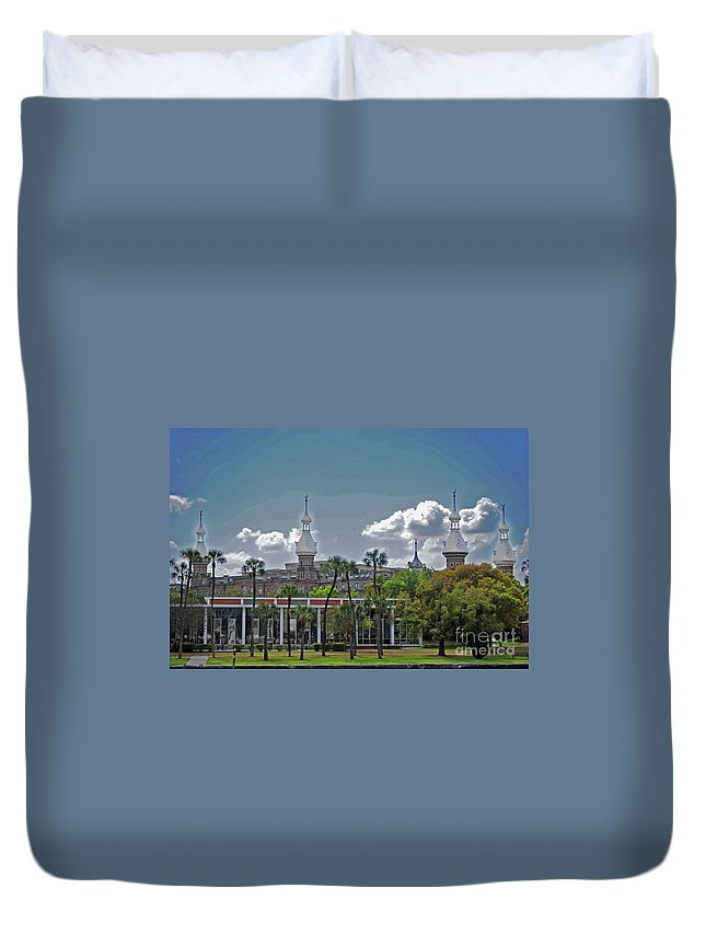 University Of Tampa Duvet Cover featuring the photograph University Of Tampa by Jost Houk