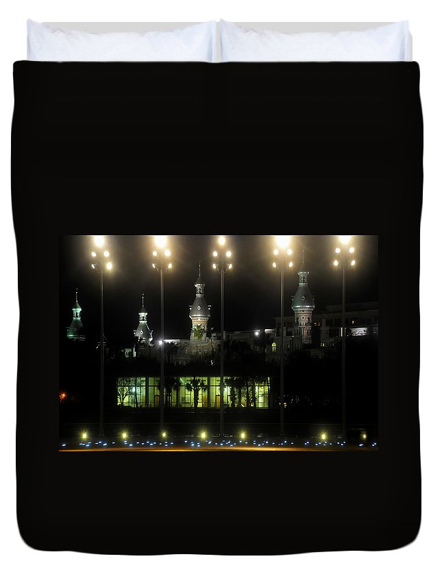 University Of Tampa Duvet Cover featuring the photograph University Of Tampa Lights by David Lee Thompson
