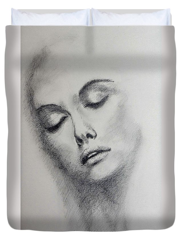 Face Duvet Cover featuring the drawing Unknown Model - 3 by Alan Pickersgill
