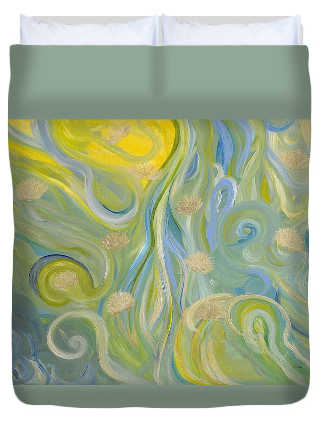Abstract Design Duvet Cover featuring the painting Unmasked by Sara Credito