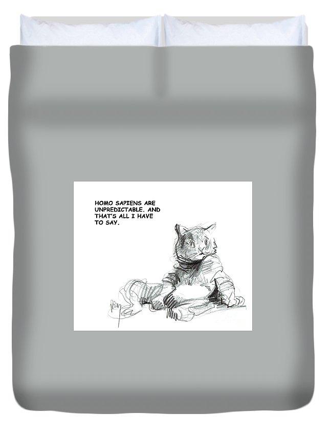 Unpredictable Cats Duvet Cover featuring the digital art Unpredictable Cat by Paul Miller