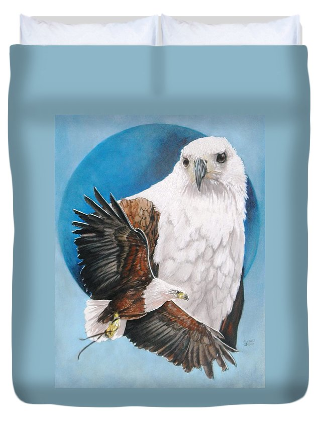 Eagle Duvet Cover featuring the mixed media Unrivalled by Barbara Keith