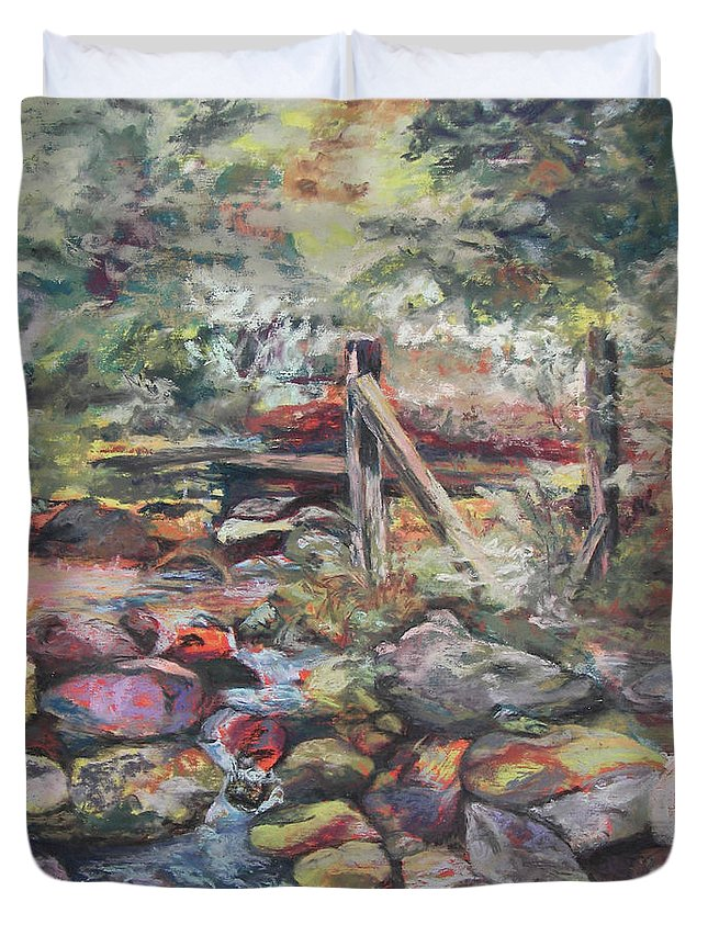 Landscape Duvet Cover featuring the pastel Unseated On Trout Brook by Alicia Drakiotes