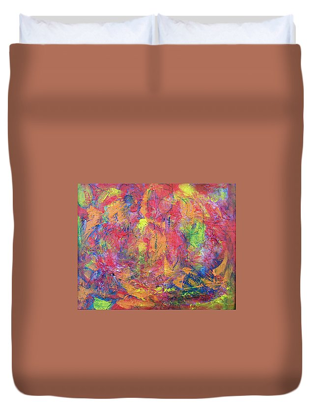 Abstract Duvet Cover featuring the painting Unseen Angels Everywhere by Judith Redman