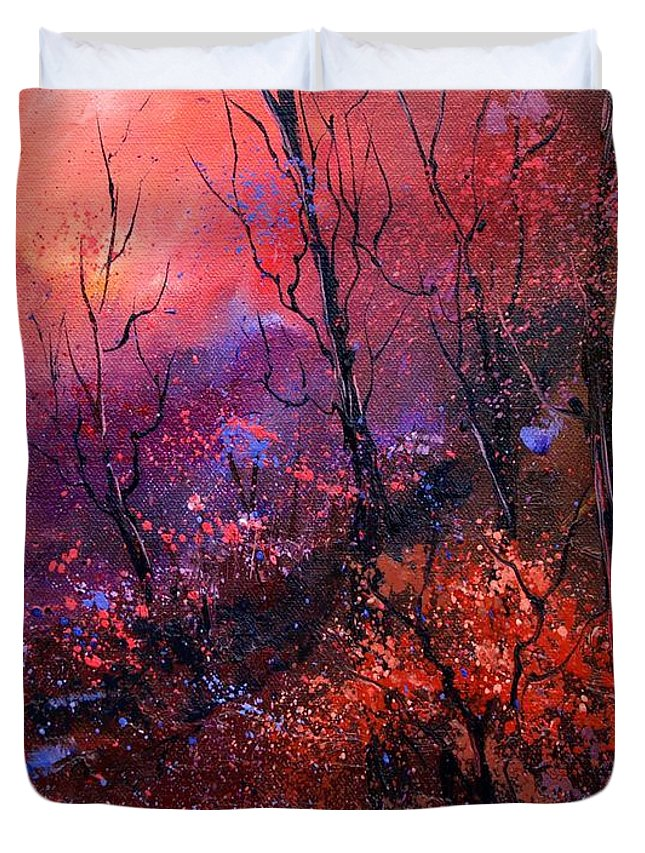 Wood Sunset Tree Duvet Cover featuring the painting Unset In The Wood by Pol Ledent