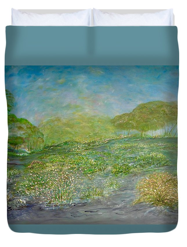 Inspirational Landscape Duvet Cover featuring the painting Untethered by Sara Credito