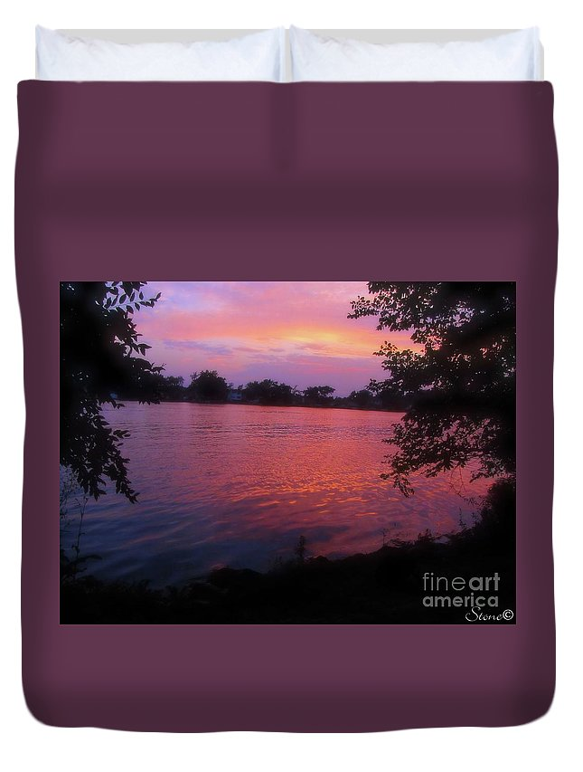 Sunset Duvet Cover featuring the photograph Until December by September Stone