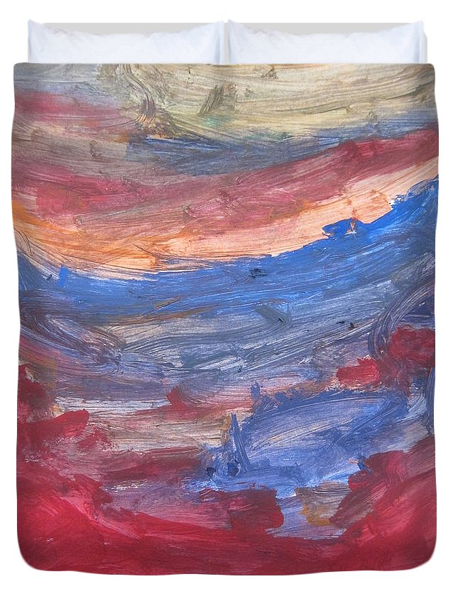 Art Duvet Cover featuring the mixed media Untitled 104 Original Painting by Iyanuoluwa Adeshina