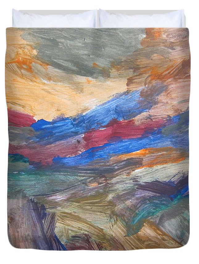 Art Duvet Cover featuring the mixed media Untitled 107 Original Painting by Iyanuoluwa Adeshina