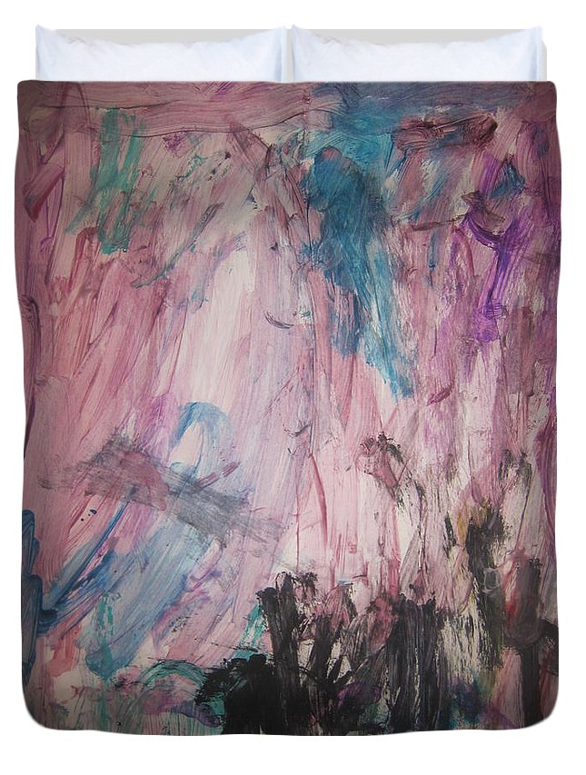 Art Duvet Cover featuring the mixed media Untitled 140 Original Painting by Iyanuoluwa Adeshina