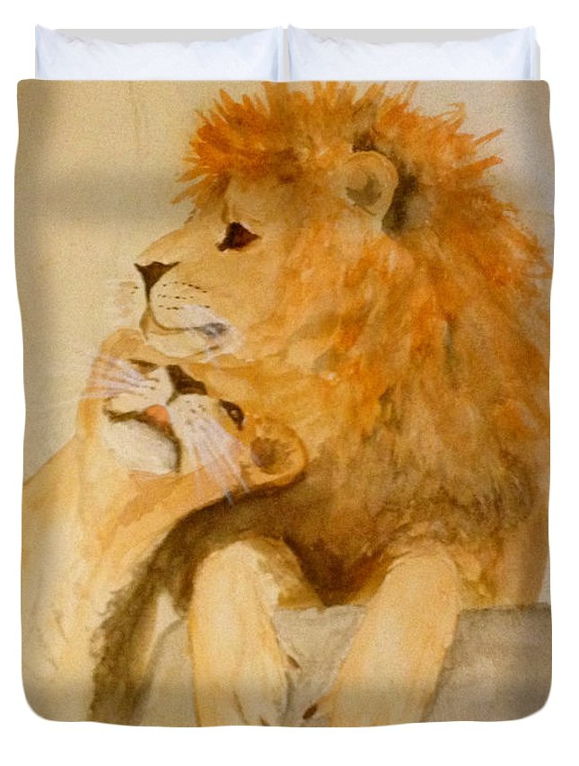 Lions Duvet Cover featuring the painting Lions In Love by Timothy Richerson