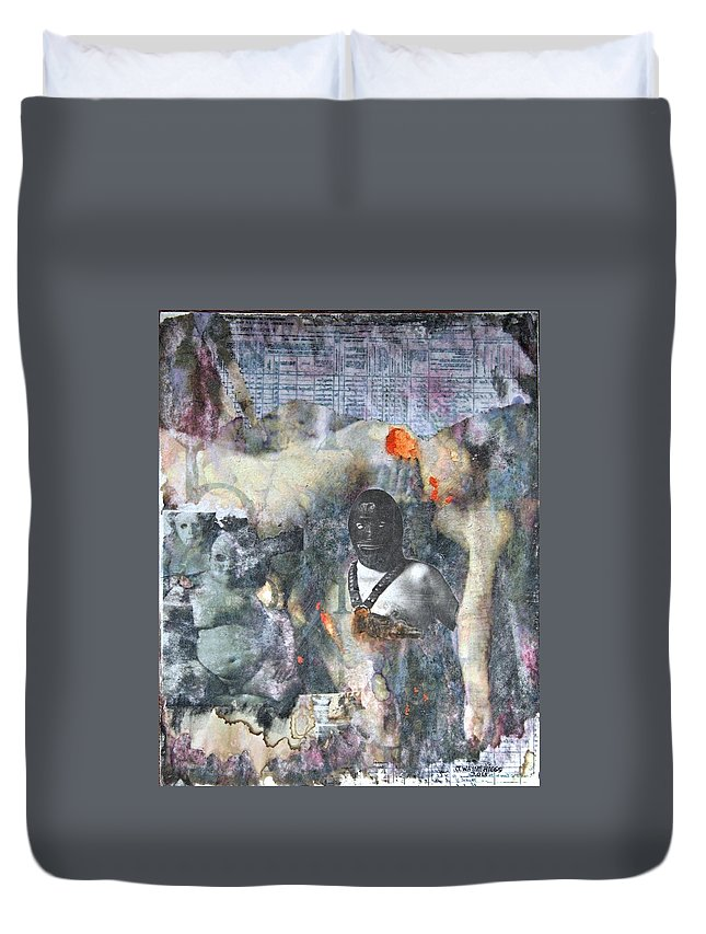 Nude Duvet Cover featuring the mixed media Untitled, 2015 by Wayne Higgs