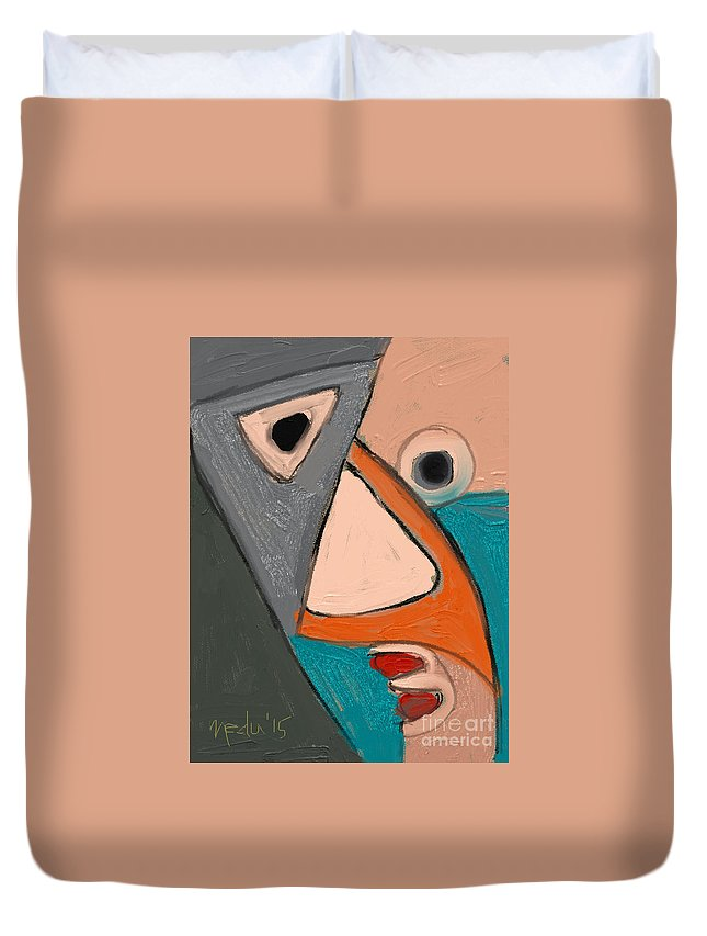 Ffine Art Duvet Cover featuring the painting Untitled 655 by Nedunseralathan R