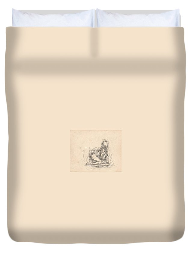 Small Duvet Cover featuring the drawing Untitled Figure by T Ezell