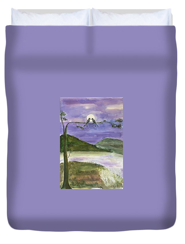 Landscape Duvet Cover featuring the painting Untitled by Geeta Biswas