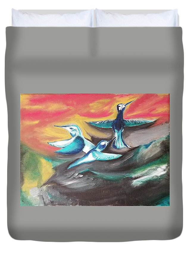 Bird Duvet Cover featuring the painting Untitled by Jessica Cyrul
