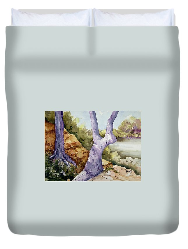 Tree Duvet Cover featuring the painting Untitled by Sam Sidders