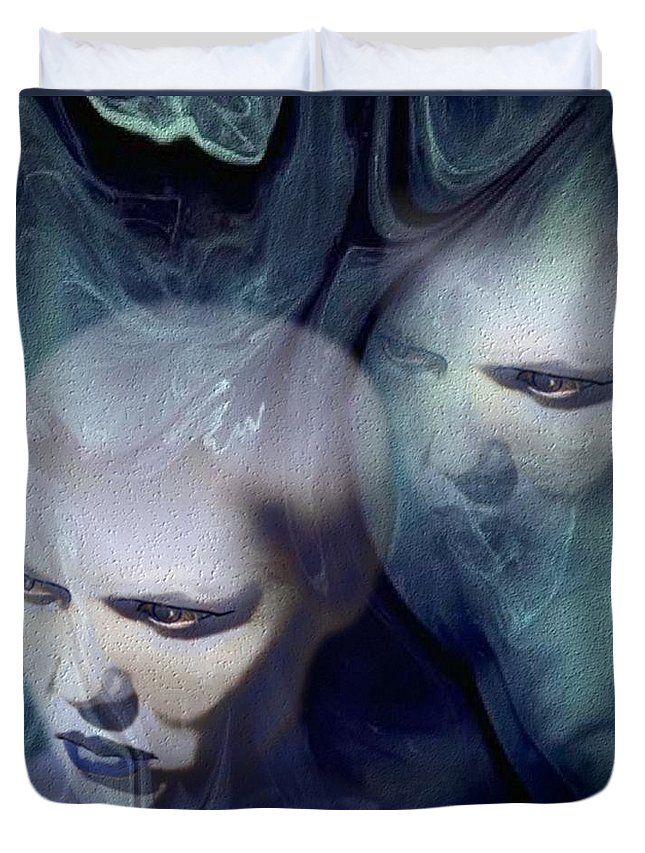 Dream Afterlife Experience Blue Smoke Duvet Cover featuring the digital art Untitled by Veronica Jackson