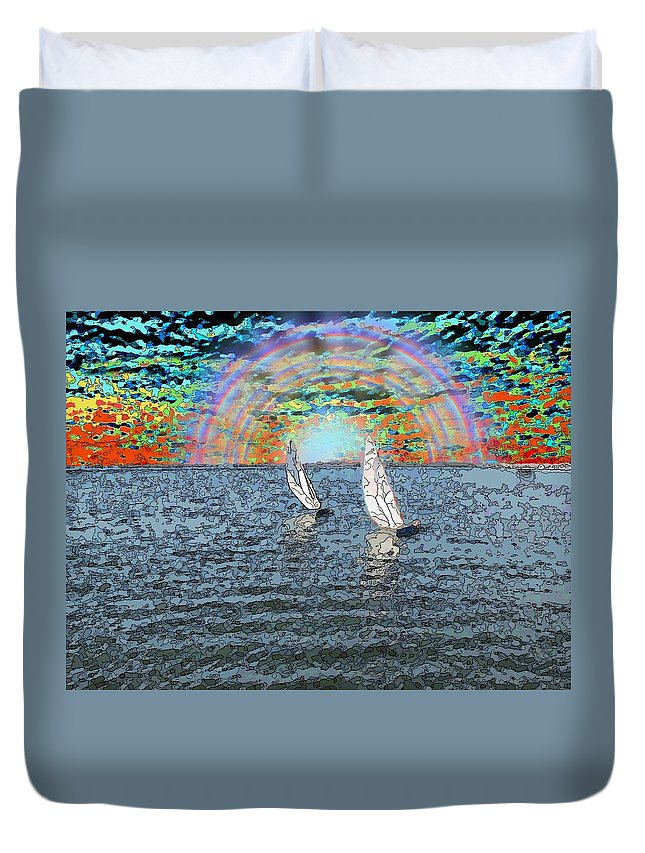 Sunset Duvet Cover featuring the digital art Unto The Sunset We Sail My Love by Tim Allen