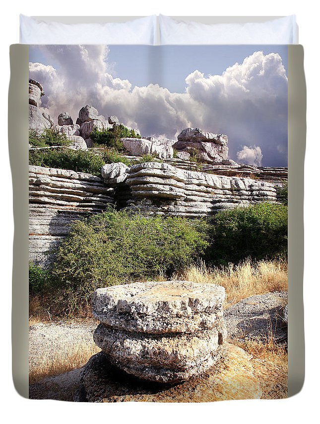 Limestone Duvet Cover featuring the photograph Unusual Rock Formations In The El Torcal Mountains Near Antequera Spain by Mal Bray