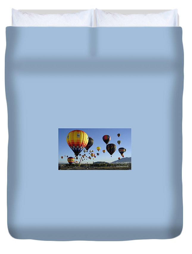 Balloons Duvet Cover featuring the photograph Up And Away by Mary Rogers