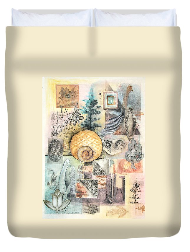 Abstract Duvet Cover featuring the mixed media Up And Away by Valerie Meotti