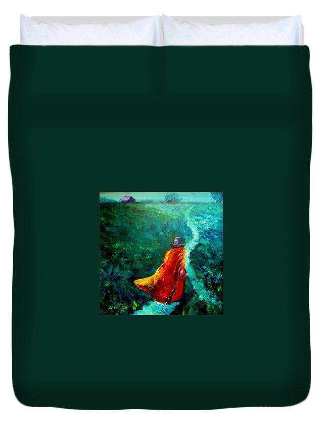 Expressionist Duvet Cover featuring the painting Up That Hill by Jason Reinhardt