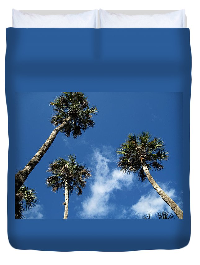 Photography Duvet Cover featuring the photograph Up To The Sky Palms by Susanne Van Hulst