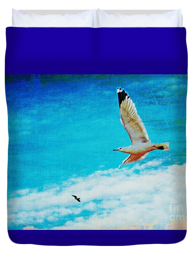 Nature Duvet Cover featuring the mixed media Up Up And Away by Don Baker