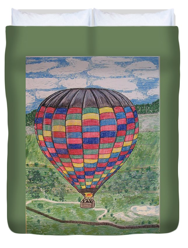 Balloon Ride Duvet Cover featuring the painting Up Up And Away by Kathy Marrs Chandler