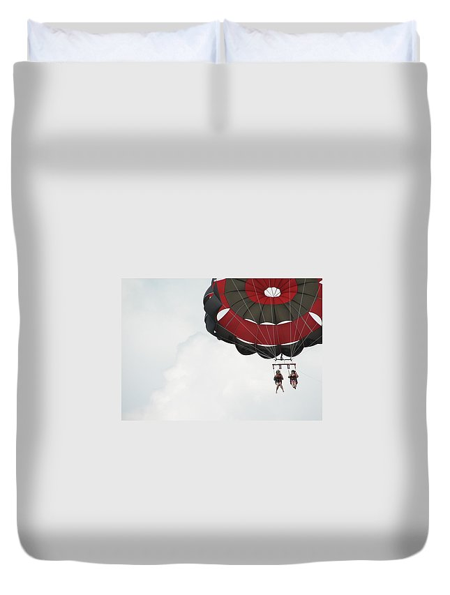 Parasail Duvet Cover featuring the photograph Up Up And Away by Kelly Mezzapelle