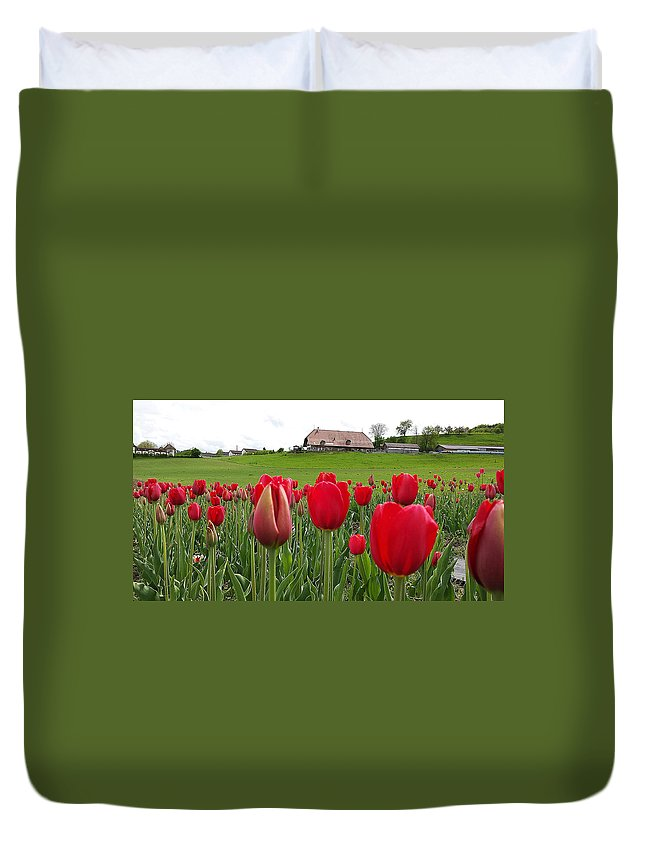 Tulip Duvet Cover featuring the photograph Upbeat Season Greetings 1 by Felicia Tica
