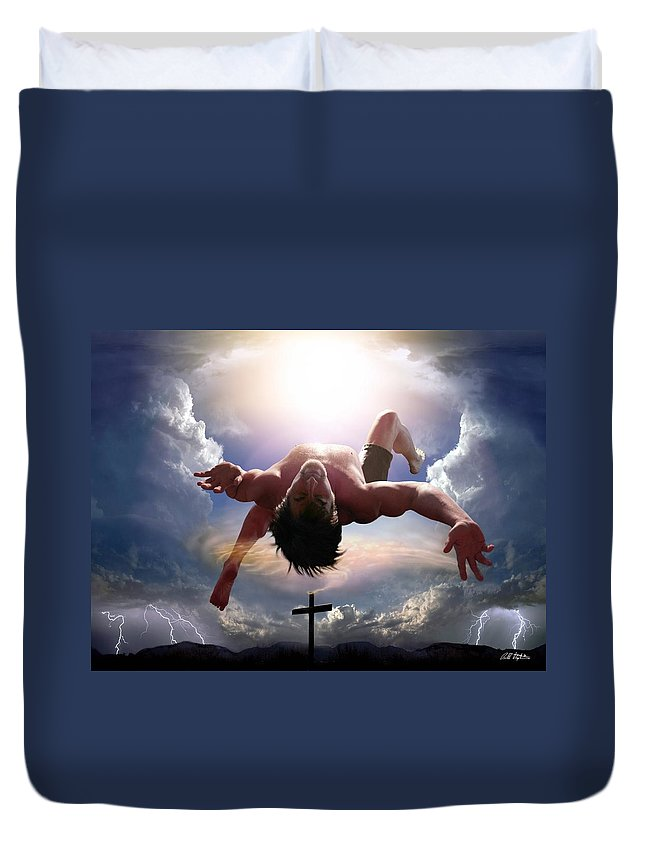 Self Portrait Duvet Cover featuring the digital art Upheld By Grace by Bill Stephens