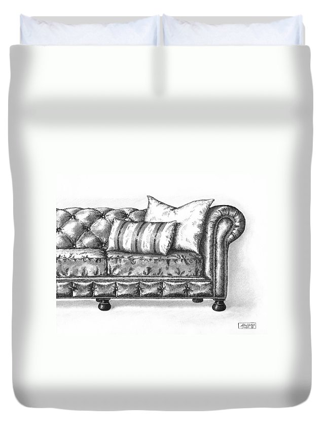 Art Duvet Cover featuring the drawing Upholstered by Adam Zebediah Joseph