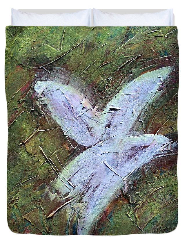 Abstract Duvet Cover featuring the painting Upon Angels Wings Of Change by Rosetta Elsner