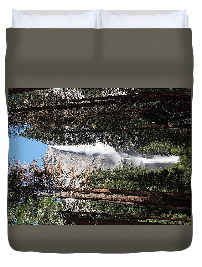 Waterfall Duvet Cover featuring the photograph Upper And Lower Yosemite Falls by Matt Collins