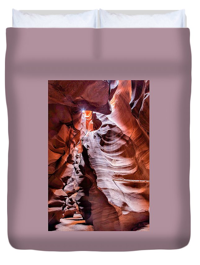 Slot Canyon Duvet Cover featuring the photograph Upper Antelope Canyon #1 by John Hesley