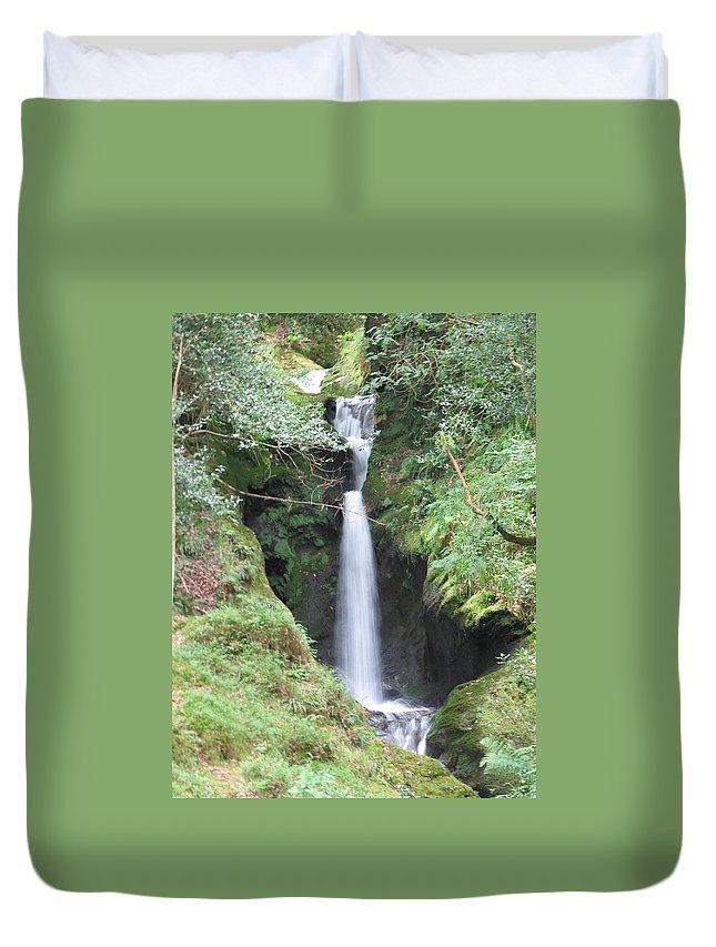 Glendalough Duvet Cover featuring the photograph Upper Falls by Kelly Mezzapelle